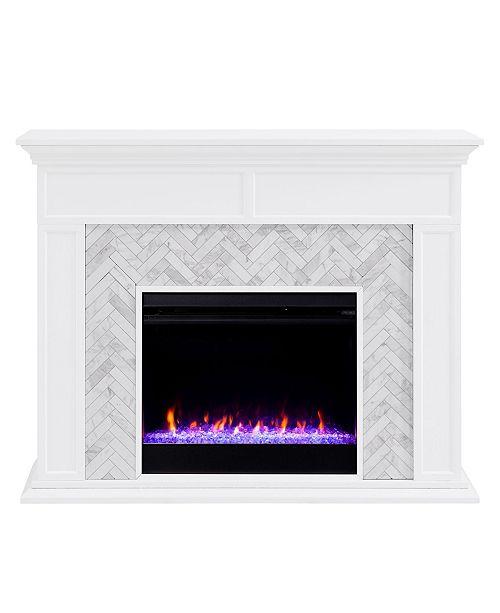 Southern Enterprises Saskia Pennytiled Color Changing Fireplace