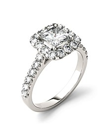 Moissanite Square Brilliant Halo Ring 2 ct. t.w. Diamond Equivalent in 14k White Gold