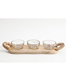 Set of 3 glass bowls with Coordinated Serving Board, Created For Macy's