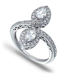 Cubic Zirconia Pear Halo Bypass Ring in Fine Silver Plate
