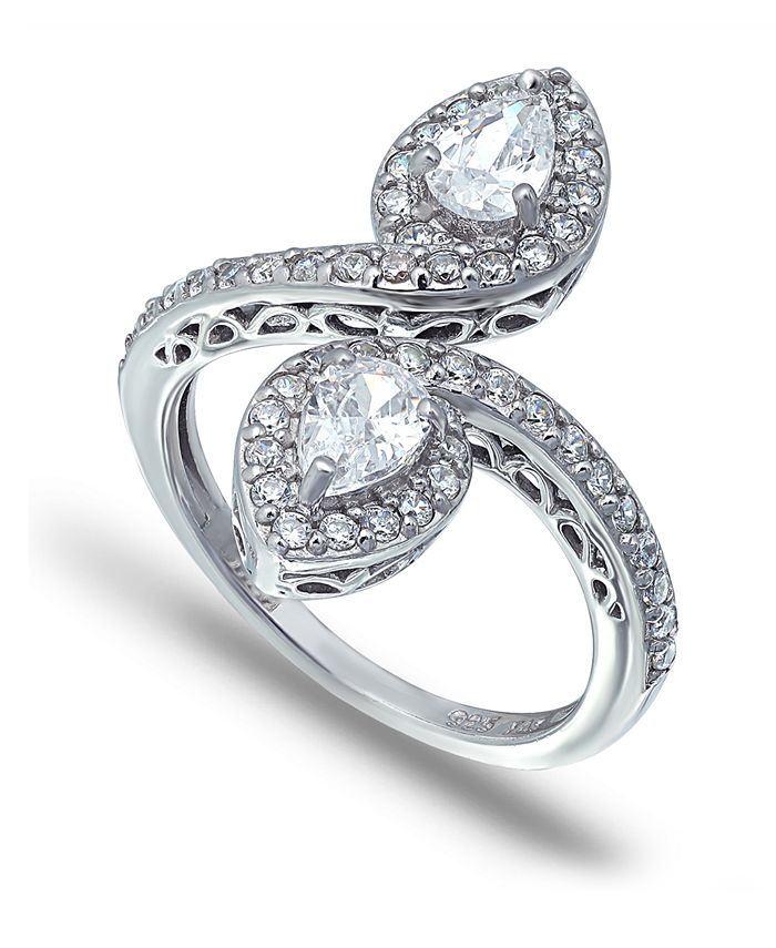 Macy's - Cubic Zirconia Pear Halo Bypass Ring in Fine Silver Plate