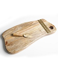 Wood Serving Board with metal trim and cheese knife, Created for Macy's