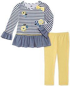 Little Girls 2-Pc. Daisy Striped Tunic & Leggings Set