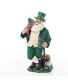 11-Inch Fabriché™ Musical Irish Santa With Dog and Walking Cane