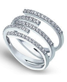 Cubic Zirconia 5 Row Bypass Ring in Fine Silver Plate