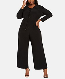Trendy Plus Size Lace-Up Jumpsuit
