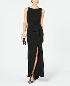 Petite Boat-Neck Bow Gown