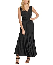 Tie-Waist Tiered Maxi Dress