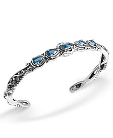 Blue Topaz (1-3/4 ct. t.w.)  Five Stone Cuff Bracelet in Sterling Silver