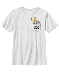 Star Wars Big Boy's Galaxy of Adventures C-3Po R2D2 Pocket B1 Short Sleeve T-Shirt