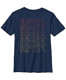Nasa Big Boy's Logo Gradient Fade Red Yellow Short Sleeve T-Shirt