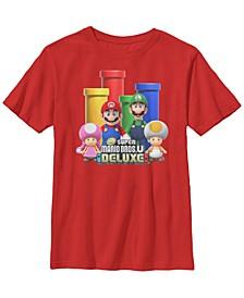Nintendo Big Boy's Super Mario Bros U Character and Warp Pipe Portrait Logo Short Sleeve T-Shirt