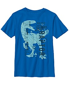 Jurassic World Two Big Boy's Blue Raptor Dna Code Silhouette Short Sleeve T-Shirt
