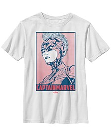 Marvel Big Boys Captain Marvel Big Boys Portrait Red Dot Build Up Short Sleeve T-Shirt