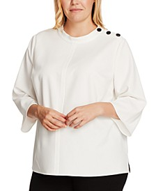 Plus Size Button-Shoulder Top