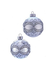 80MM Silver with Glitter and Sequins Glass Ball Ornaments, 6 Piece Box