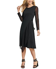 Sheer-Sleeve Asymmetrical-Hem Dress