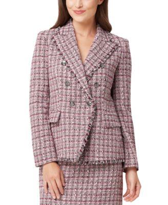 Fringed-Trim Tweed Double-Breasted Jacket