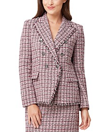 Fringed-Trim Tweed Double-Breasted Jacket
