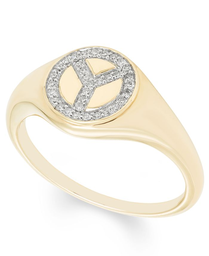 Macy's - Diamond (1/10 ct. t.w.) Peace Sign Ring in 14k Yellow or Rose Gold