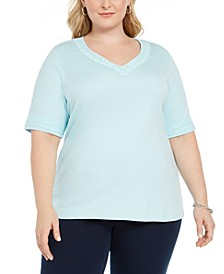 Plus Size Lace-Trim V-Neck Cotton Top, Created For Macy's