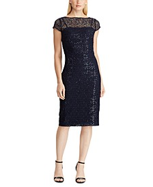 Sequined Lace Cap-Sleeve Dress