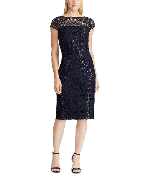 Lauren Ralph Lauren Sequined Lace Cap-Sleeve Dress