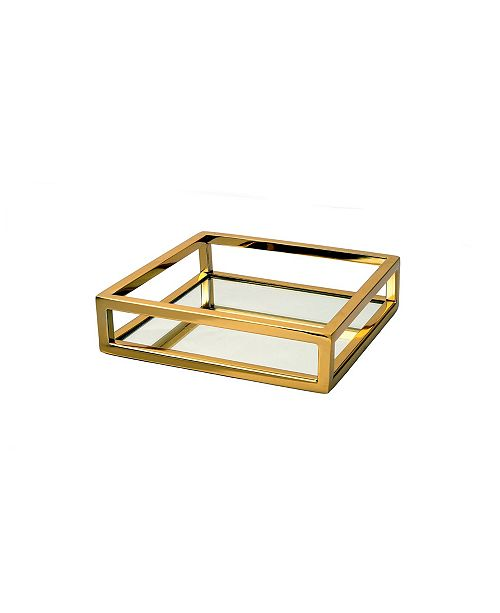 Classic Touch Oblong Mirror Tray with Loop Design