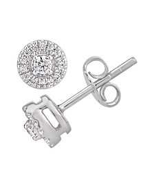 Certified Diamond 1/5 ct. t.w. Halo Stud Earrings in 14k White Gold