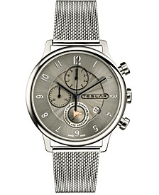 Men's Swiss Chronograph Re-Balance T-1 Stainless Steel Mesh Bracelet Watch 42mm