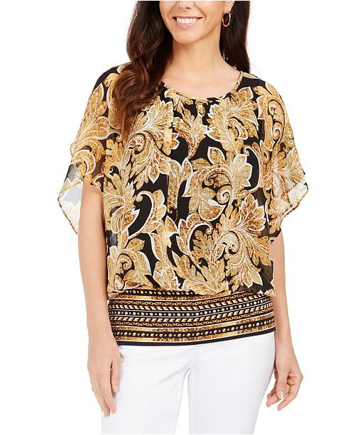 JM Collection Petite Flutter-Sleeve Banded-Hem Top, Created for Macy's