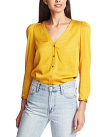 3/4-Sleeve Puffed-Shoulder Top