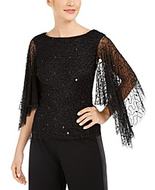 Beaded Flutter-Sleeve Top