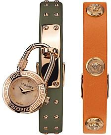 Women's Swiss Medusa Lock Icon Green & Orange Leather Strap Watch 21.5mm