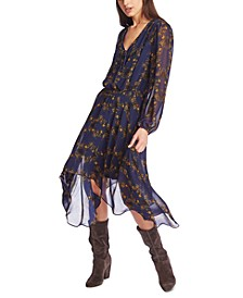 Printed Handkerchief Midi Dress