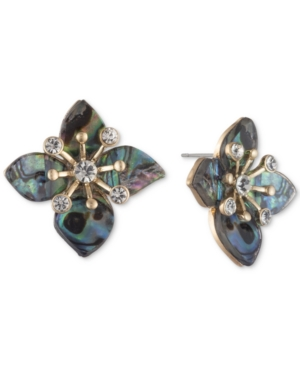 Gold-Tone Pave & Stone Flower Stud Earrings