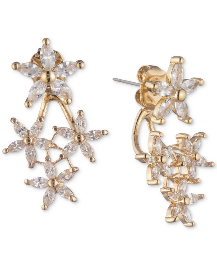 lonna & lilly - Gold-Tone Crystal Flower Front-and-Back Earrings
