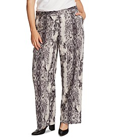 Plus Size Snakeskin-Print Wide-Leg Pants