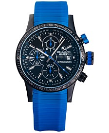 Men's Admiral Chronograph Blue Silicone Performance Timepiece Watch 45mm