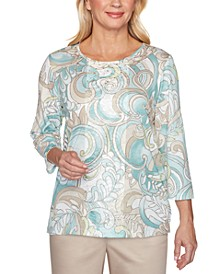Petite Cottage Charm Scroll-Print Center-Lace Top