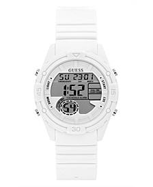 Digital White Silicone Strap Watch 40mm