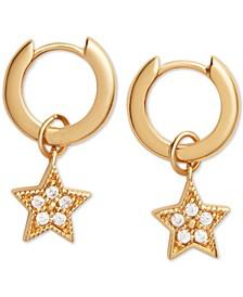 Swarovski Crystal Star Dangle Huggie Hoop Earrings