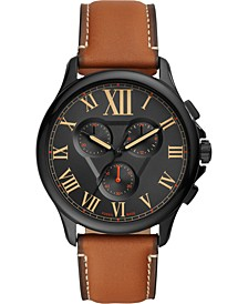 Men's Monty Chronograph Brown Leather Strap Watch 44mm