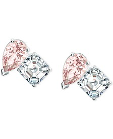 Silver-Tone Double Crystal Stud Earrings