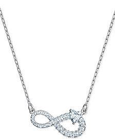 "Swarovski Silver-Tone Crystal Infinity Symbol Pendant Necklace, 14-7/8"" + 2"" extender"