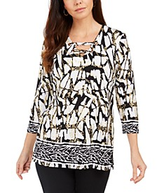 Laced Grommet-Neck Tunic Top, Created for Macy's
