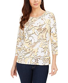 Floral-Print Jacquard Top, Created For Macy's
