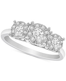 Diamond Triple Halo Promise Ring (1/3 ct. t.w.) in Sterling Silver