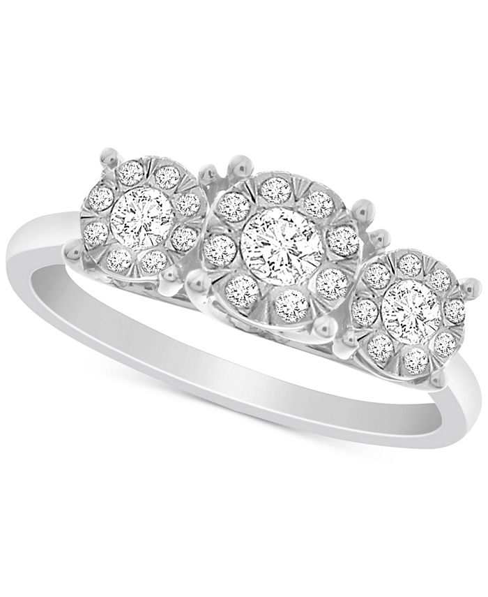 Promised Love - Diamond Triple Halo Promise Ring (1/3 ct. t.w.) in Sterling Silver