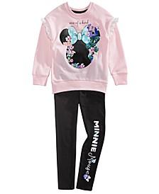 Little Girls 2-Pc. Minnie Mouse Floral Sweatshirt & Leggings Set